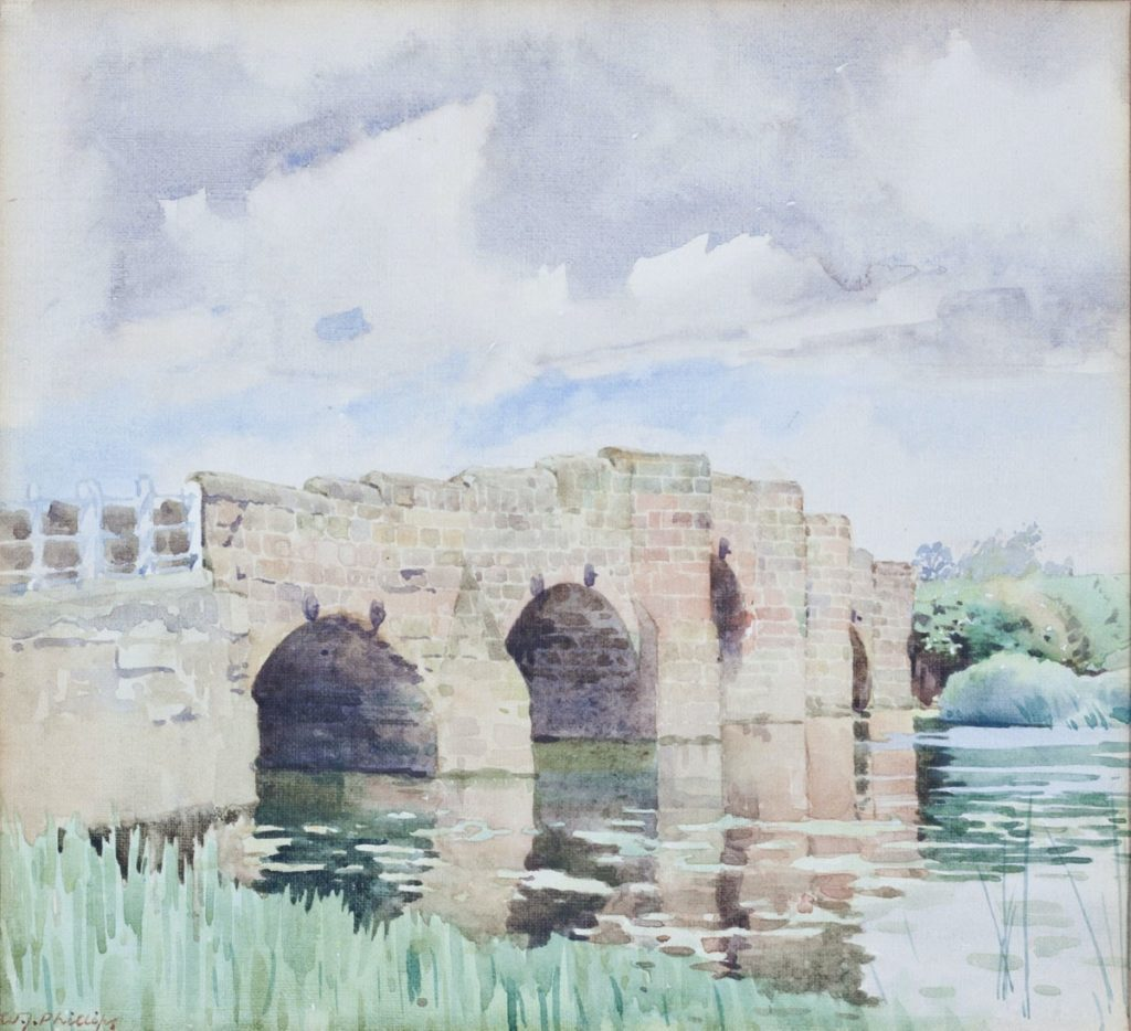 Ancient Bridge Over the River Avon at Eckington by WJ Phillips