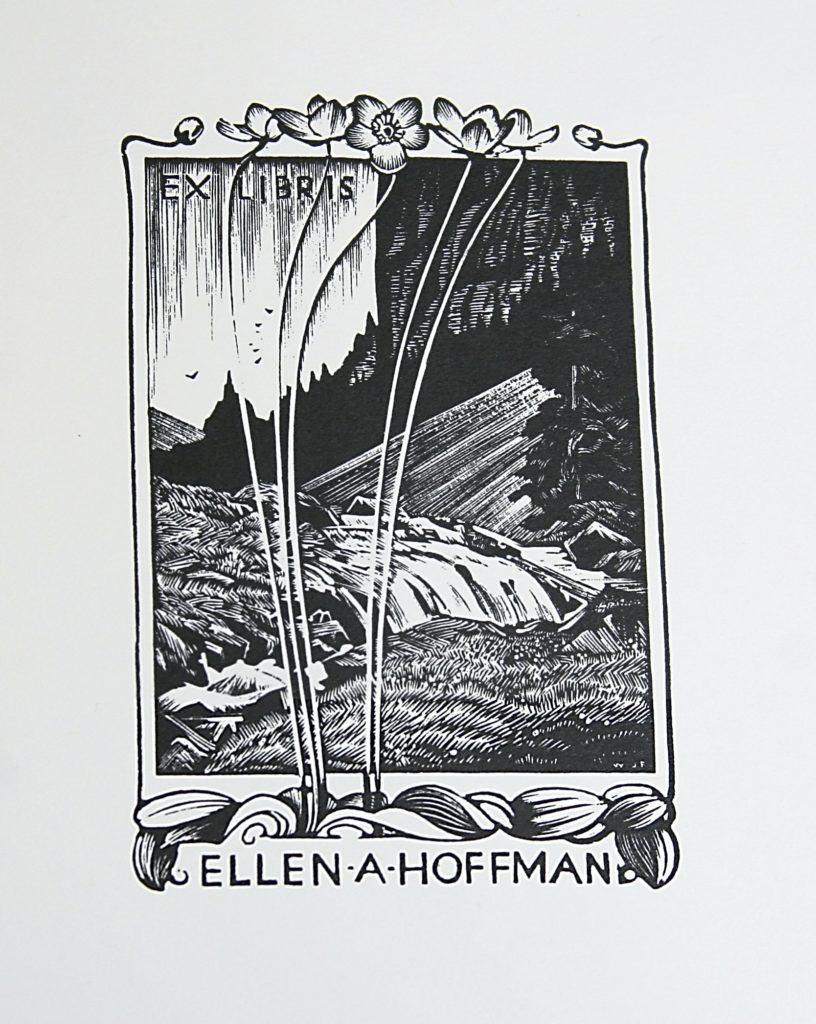 Bookplate for Miss Ellen A. Hoffman by WJ Phillips