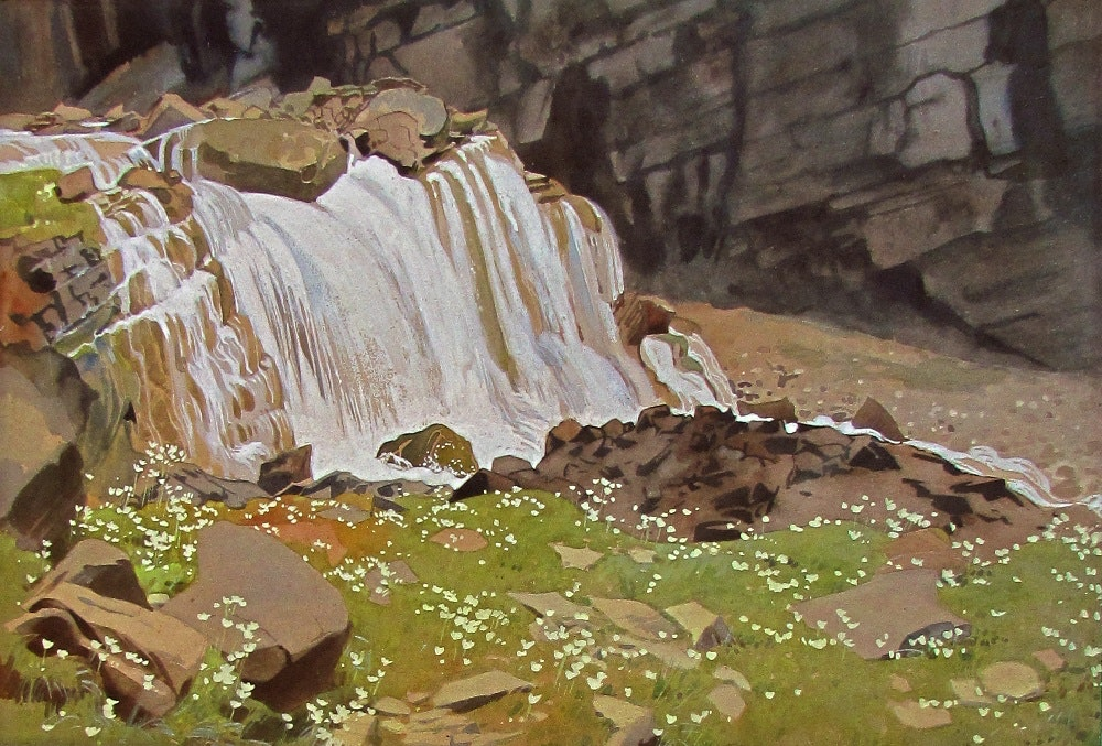 Falls on the Trails to Lake Oesa by WJ Phillips