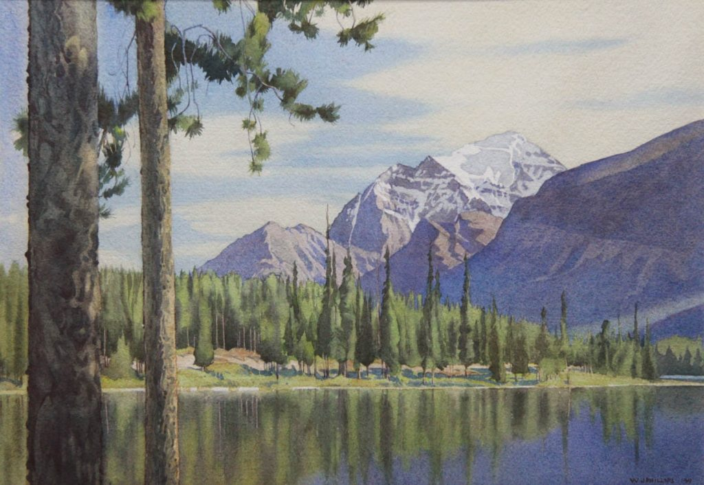 Mount Temple from Herbert Lake by WJ Phillips
