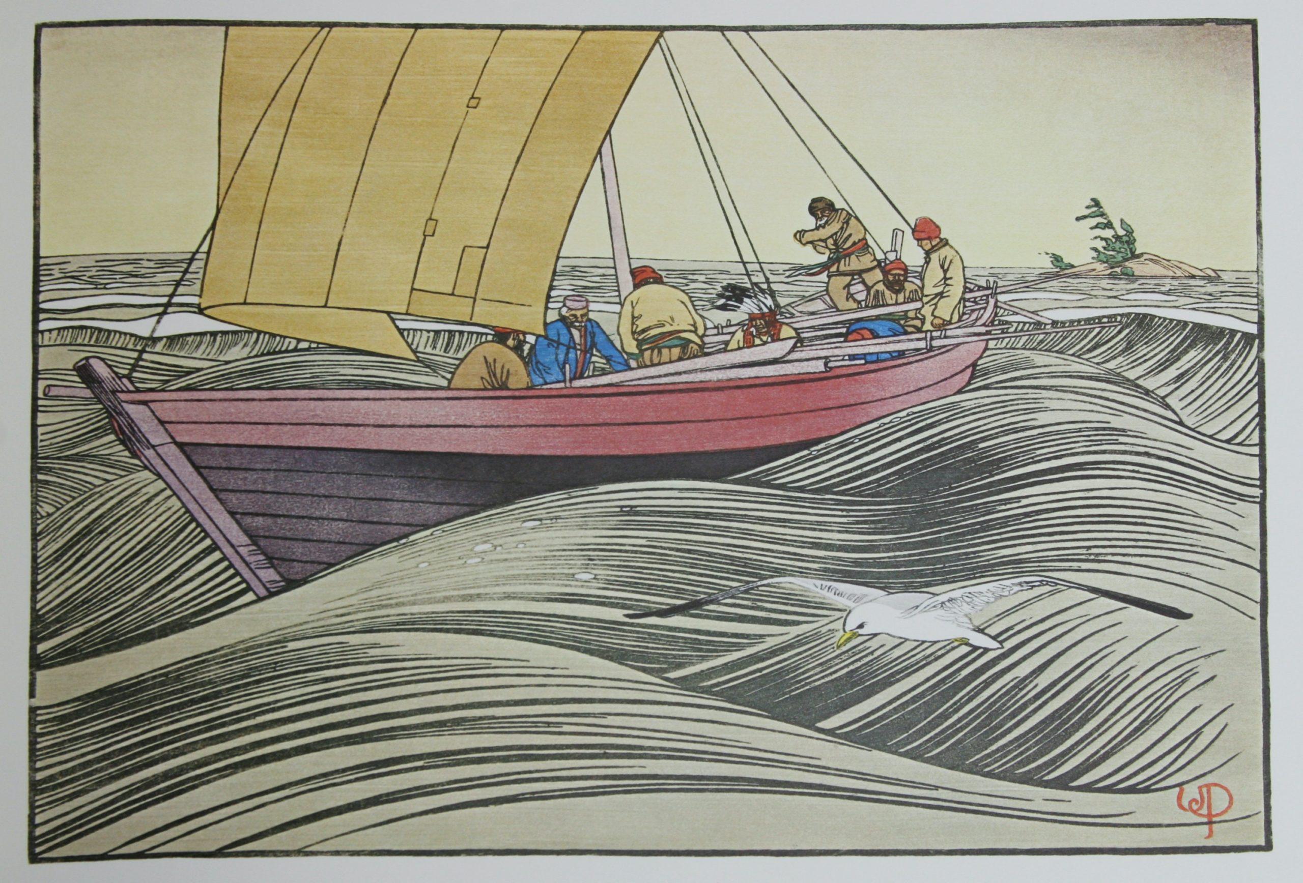 York Boat on Lake Winnipeg by WJ Phillips
